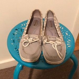 Sperry Top Sider Boat Shoes, Size 8, Grey stripes